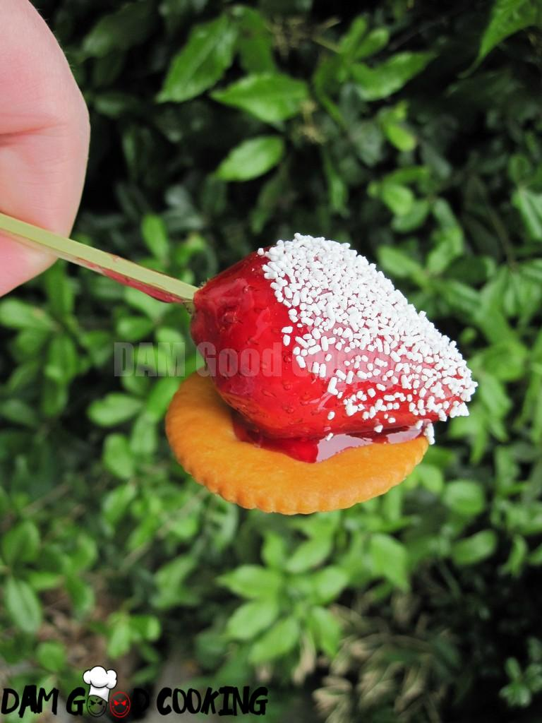 Candied strawberry on a cracker