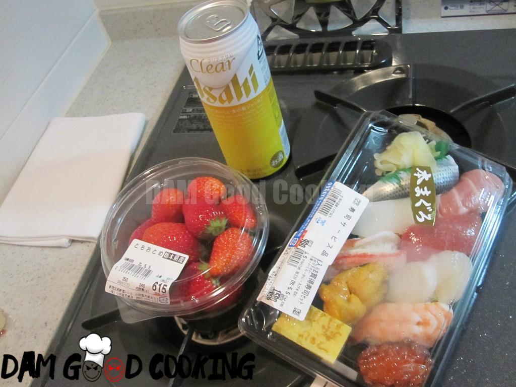 Supermarket sushi and strawberries