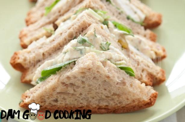 Coronation chicken and fresh coriander salad sandwich, recipe